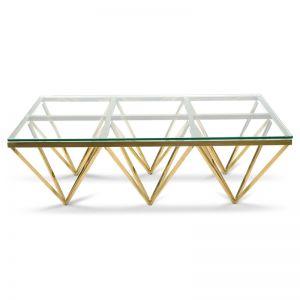 Tafari 1.2m Coffee Table   Glass Top   Golden steel Base
