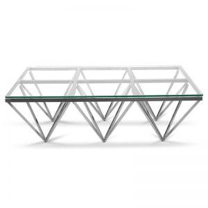 Tafari 1.2m Coffee Table | Glass Top | Silver Steel Base