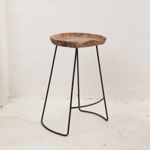 Tall DEMIR Shaped Bar Stool With Iron Legs