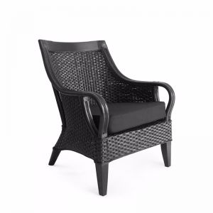 Tamia Rattan Lounge Chair | Black | by Black Mango