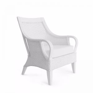 Tamia Rattan Lounge Chair | White | by Black Mango
