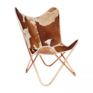 Tan and White Cowhide Butterfly Chair | Real Hair On Leather