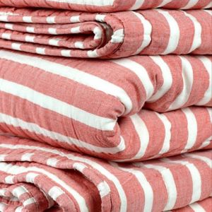 Tangerine Striped Cotton Quilts