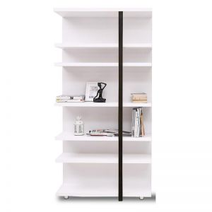 Tansy Display Unit | 100cm | Matt White + Black Oak | Modern Furniture