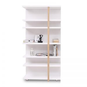 Tansy Display Unit Book Shelf | 100cm | Matt White + Natural | Modern Furniture