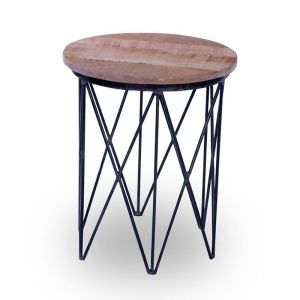 Taya Side Table | Solid Mango Wood & Iron