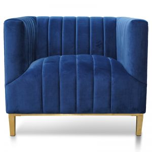 Taylor Arm Chair in Blue Velvet | Brushed Gold Base