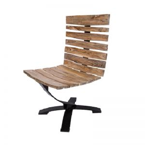 Teak and Matte Black Iron Leaf Spring Chair