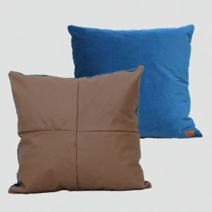 Teal Velvet and Tan Leather Cushion | 51 X 51cms | Custom Made by Martini Furniture