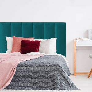 Teal Velvet Panelled Upholstered Bedhead | All Sizes | Custom Made by Martini Furniture
