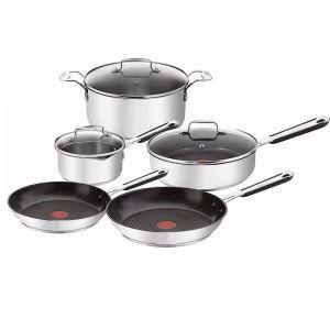 Tefal Jamie Oliver Stainless Steel Mediterranean Cookware Set |  5 Piece