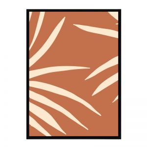 Terracotta Palm | Flat Matte Black Frame | Front View