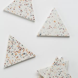 Terrazzo Coaster/ Trivet in White | by Capra Designs