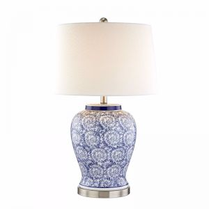 Tessa Blue & Swirl Table Lamp | by Black Mango