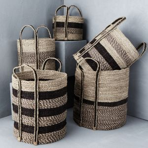 Textured Striped Basket with Outside Handles