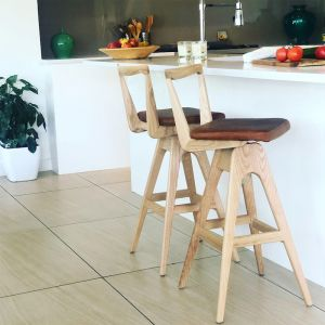 TH Brown Danish Bar Stool- Clear Ash
