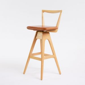 TH Brown Danish Stool | Clear Ash | Various Seat Colours