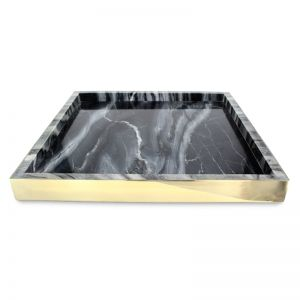 The Ava Tray | Smokey Marble and Polished Brass | Large