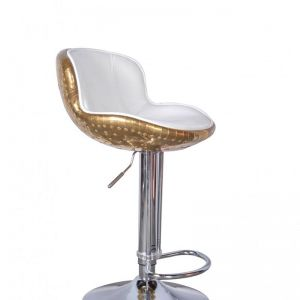 The Baron X2 Brass & White Leather Bar Stool| by Cocolea Furniture | Pre Order