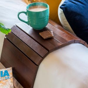 The Best Selling Bamboo Multi-Fit Couch Arm Table | Oak Stain