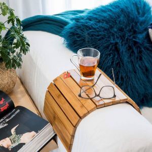 The Best Selling Bamboo Multi-Fit Couch Arm Table | Pre-Order