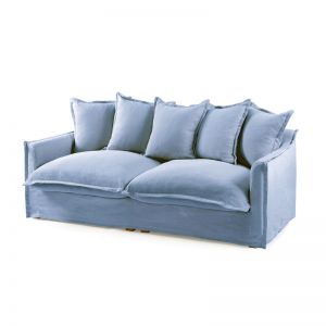 The Cloud 3 Seater Sofa With Slipcover | Denim Blue | by Black Mango