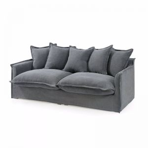 The Cloud 3 Seater Sofa With Slipcover | Slate | by Black Mango