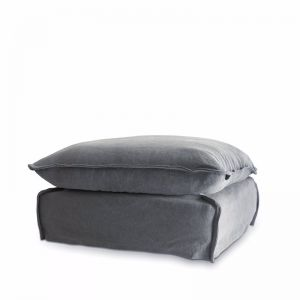 The Cloud Ottoman With Slipcover | Slate | by Black Mango