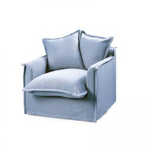 The Cloud Single Seater with Slipcover | Denim Blue | by Black Mango