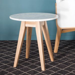 The Copenhagen | Carrara Marble Oak | Round Side Table
