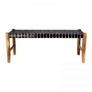 The Elk Bench   Black Soot Leather   by Coco Unika