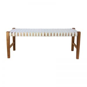 The Elk Bench | White Snow Leather | by Coco Unika