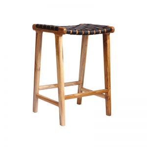 The Erik Barstool | Black Soot Leather | by Coco Unika