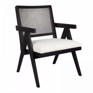 The Imperial Rattan Occasional Chair   Black Frame with White Linen