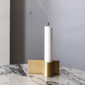 The Linear   Solid Brass Candle Holder   By Coco Unika
