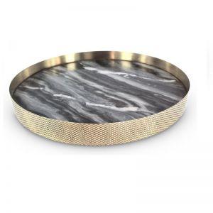 The Orbit Tray | Smokey Marble and Diamond Pattern Brass
