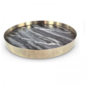 The Orbit Tray | Smokey Marble and Diamond Pattern Brass | Large