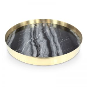 The Orbit Tray | Smokey Marble and Polished Brass| Large