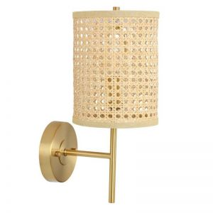Tide 1 Light Wall Bracket in Antique Brass with Natural Ratten Shade   Beacon Lighting
