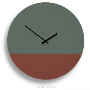 TOO tone wall clocks by TOO designs - Forest Green and Oxide Red