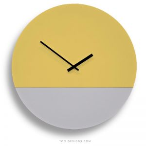 TOO tone wall clocks by TOO designs - Lemon Yellow and Cement Grey
