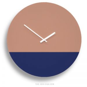 TOO tone wall clocks by TOO designs -Salmon Pink and Cobalt Blue