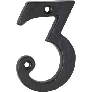 Traditional Numeral 3 7.5cm | Matt Black | Schots
