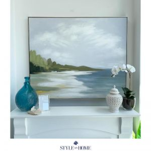 Tranquil Seashore   Canvas in Antique Silver Frame