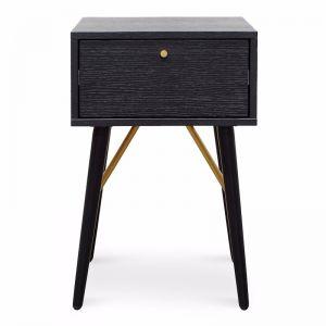 Trent Wooden Bed Side Table   Black