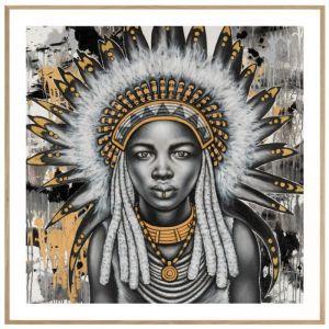 Tribal Girl | P1001-Gold-1 | Framed Print | Colour Clash Studio