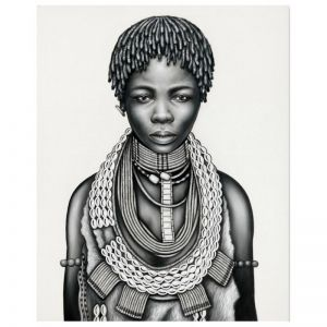 Tribal Girl with Dreadlocks | P3029-Mono | Canvas Print | Colour Clash Studio