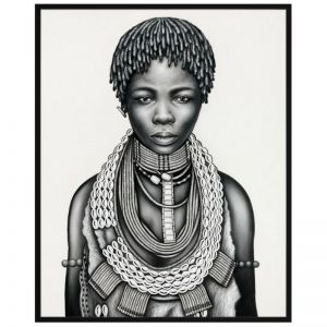 Tribal Girl with Dreadlocks | P3029-Mono | Framed Canvas Print | Colour Clash Studio