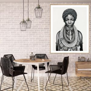 Tribal Girl with Dreadlocks | P3029 Mono | Framed Print | Colour Clash Studio