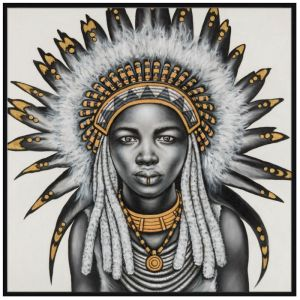 Tribal Girl with Headpiece | P3036-Gold | Framed Canvas Print | Colour Clash Studio